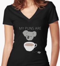 """Koala Tea"" puns Women's Fitted V-Neck T-Shirt"