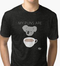 """""""Koala Tea"""" puns Tri-blend T-Shirt"""