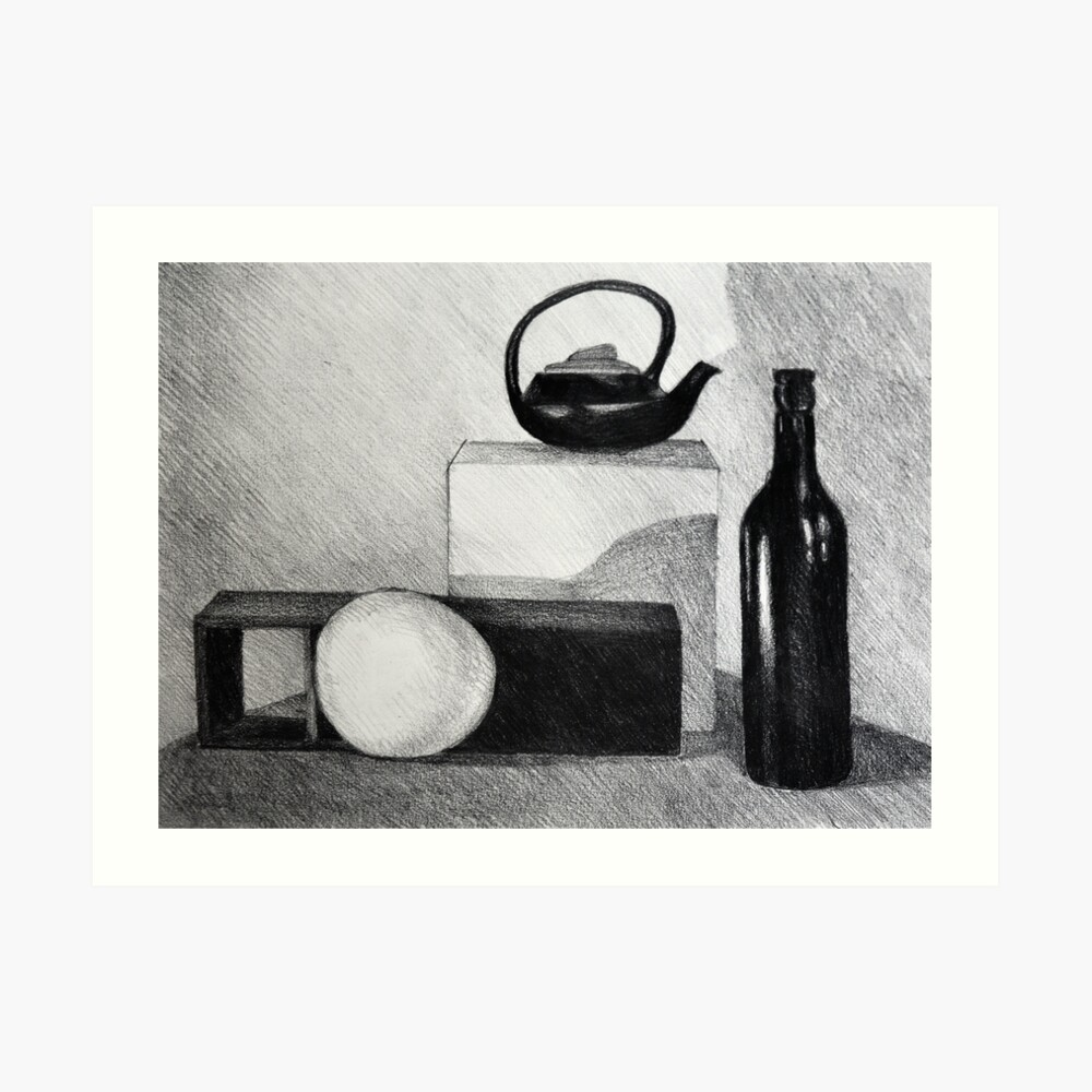 Still life drawing illustration of simple shapes and bottles art print