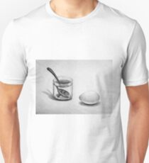 Still life drawing illustration of breakfast: egg, spoon and glass T-Shirt