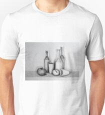Still life drawing illustration of bottles, cups and fruits  T-Shirt
