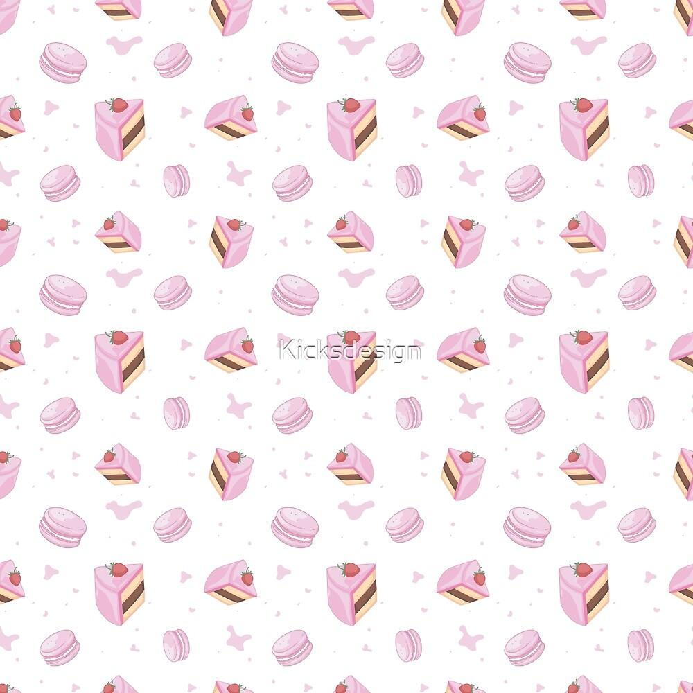 Blush pink brown macaroons cookies sweet pattern by Maria Fernandes