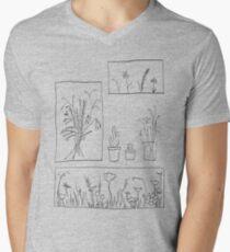 wildflowers illustrated print Men's V-Neck T-Shirt