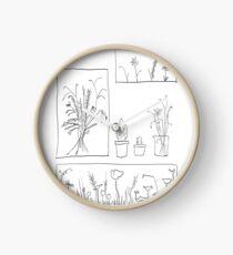 wildflowers illustrated print Clock