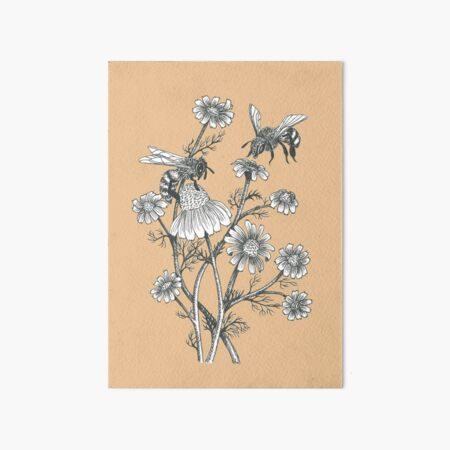 bees and chamomile on caramel background Art Board Print