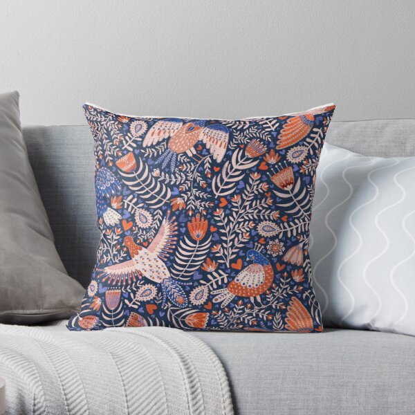 Swedish folk art birds on dark blue Throw Pillow
