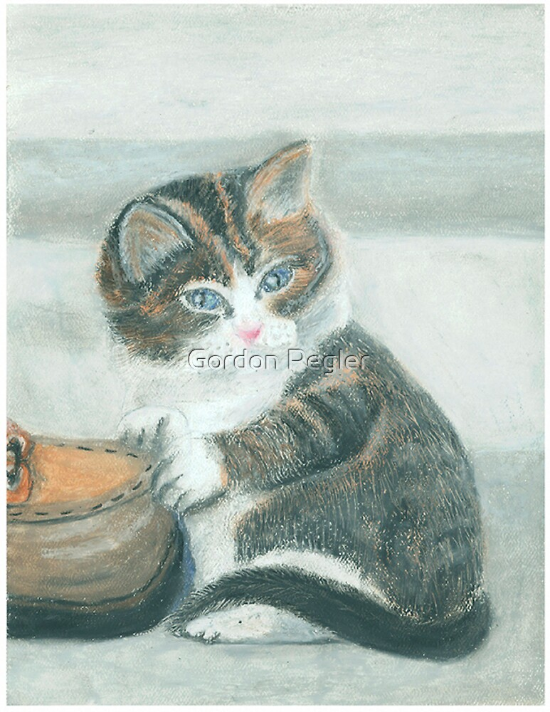 Cat and shoe - Oil Pastels by Gordon Pegler