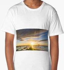 Golden hour sunset over beach at low tide with rocks in the foreground Long T-Shirt