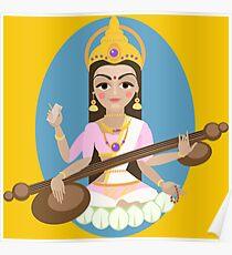 Hindu Goddess Saraswati. Vector hand drawn illustration. Poster