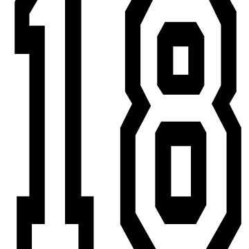 18, TEAM SPORTS, NUMBER 18, EIGHTEEN, EIGHTEENTH, ONE, EIGHT, Competition,  by TOMSREDBUBBLE