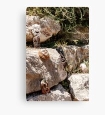 African handmade masks are lying on a big stones backgrpund Canvas Print