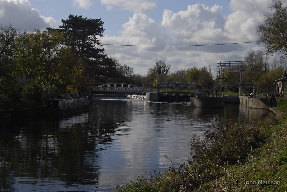 Baytes lock on River Cam Out Side Cambridge by John Newson