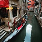 Narrow Canal with Gondola in Venice by Hotaik  Sung