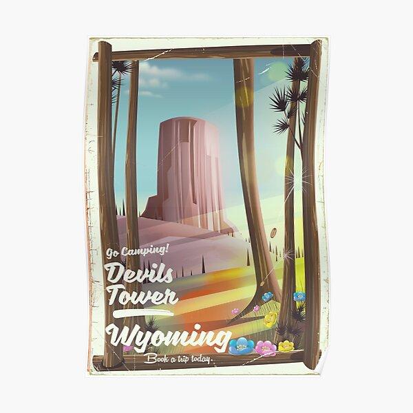 Devils Tower, Wyoming vintage Camping print. Poster