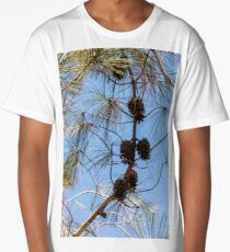 Cones on a coniferous tree against a blue sky Long T-Shirt