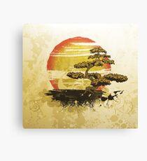 Vintage Bonsai Tree Sunset Canvas Print