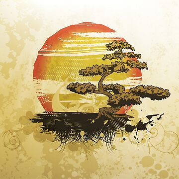 Vintage Bonsai Tree Sunset by Chocodole