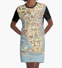 Vintage 1934 Florida map - birthday gift idea for her Graphic T-Shirt Dress