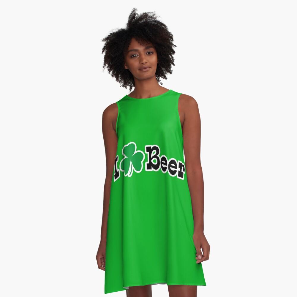 Ich Shamrock Bier A-Linien Kleid