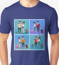 Travel Banner. Tourism Industry. Active People. Girl with Baggage. Man with Baggage. Tourists with Luggage. Happy Couple. Flat Style T-Shirt