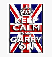 Keep Calm, & Carry On, Union Jack, Flag, Blighty, UK, GB, Be British! Photographic Print