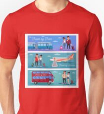 Bus Travel. Train Travel. Airplane Travel. Travel Banner. Tourism Industry. Active People. Girl with Baggage. Bus Tour. Man with Baggage. Happy Couple. Flat Style T-Shirt