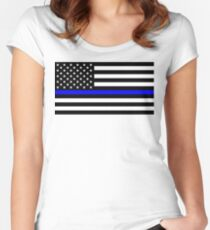 Blue Lives Matter Police Flag Women's Fitted Scoop T-Shirt