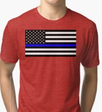 Blue Lives Matter Police Flag Tri-blend T-Shirt