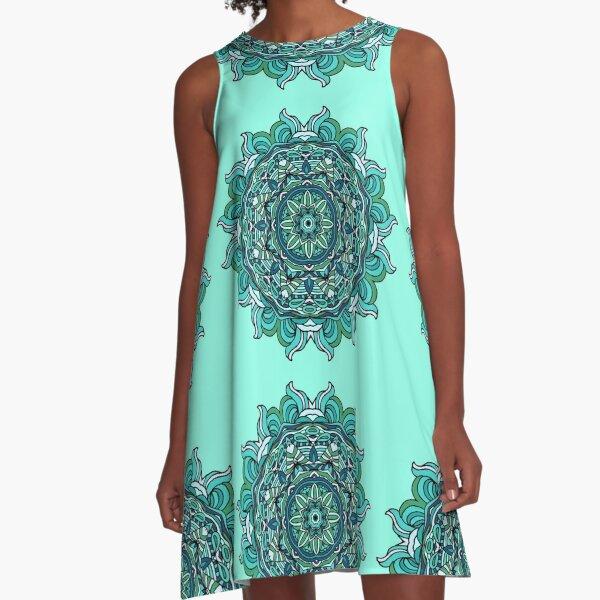 Blaues Mandala A-Linien Kleid