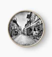 Rue du Petit Champlain colorful store displays of Old Quebec City Black and white art print Clock