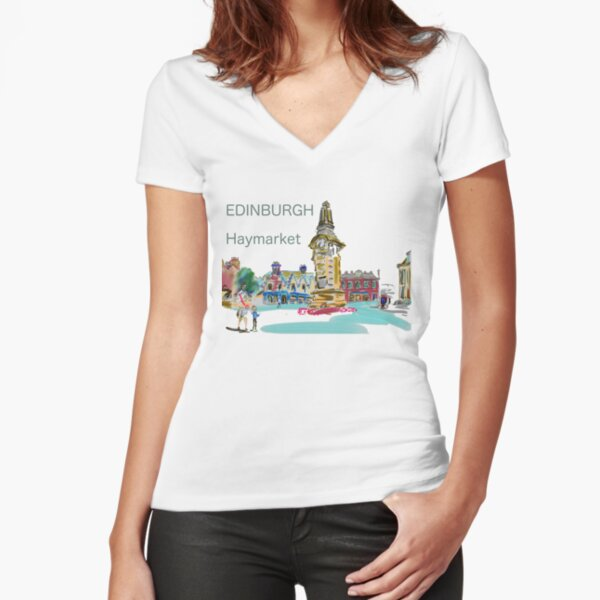 Haymarket station Edinburgh in full Scottish colour with words Fitted V-Neck T-Shirt