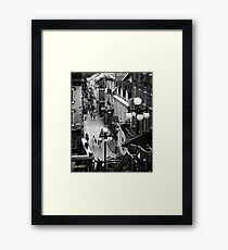 Busy historic streets of Old Quebec City Rue du Petit-Champlain Black and white art print Framed Print