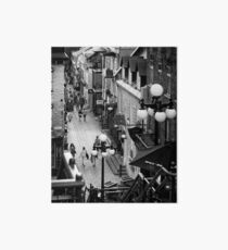 Busy historic streets of Old Quebec City Rue du Petit-Champlain Black and white art print Art Board
