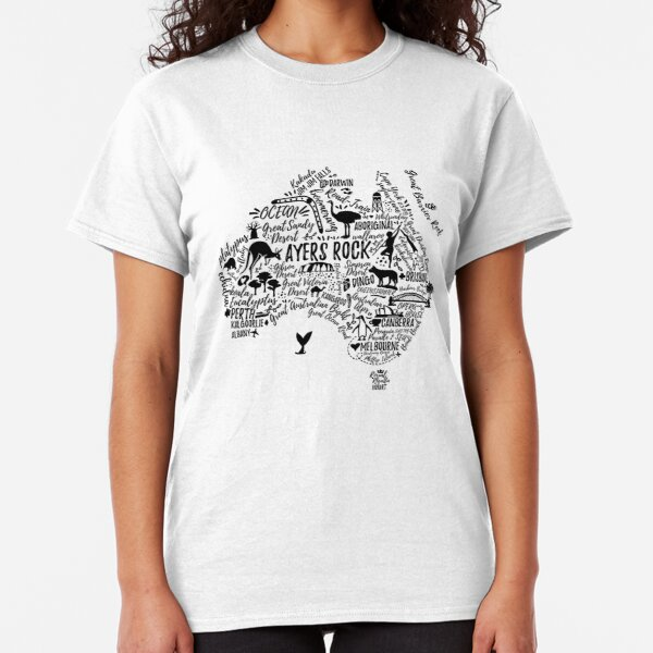 Typography poster. Australia map. Australia travel guide. Classic T-Shirt