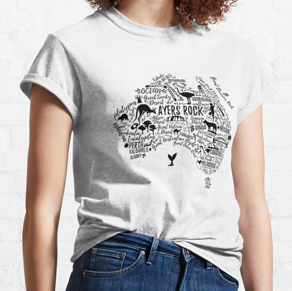 Typography poster. Australia map. Australia travel guide. Classic T-Shirt