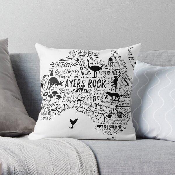 Typography poster. Australia map. Australia travel guide. Throw Pillow