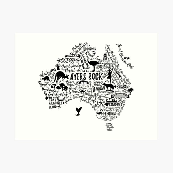Typography poster. Australia map. Australia travel guide. Art Print