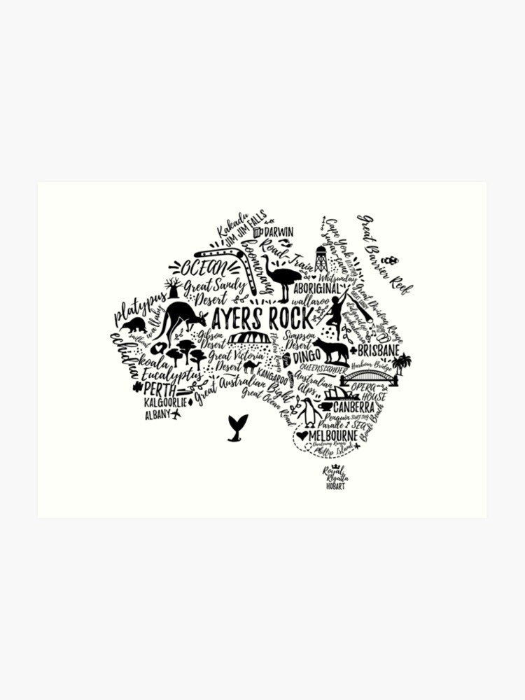 Australia Map Art.Typography Poster Australia Map Australia Travel Guide Art Print