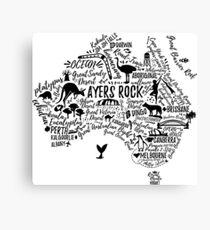Typography poster. Australia map. Australia travel guide. Canvas Print