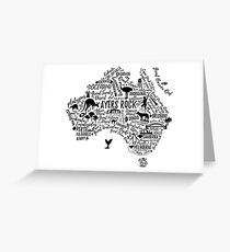 Typografie-Poster. Australien Karte. Australien Reiseführer. Grußkarte