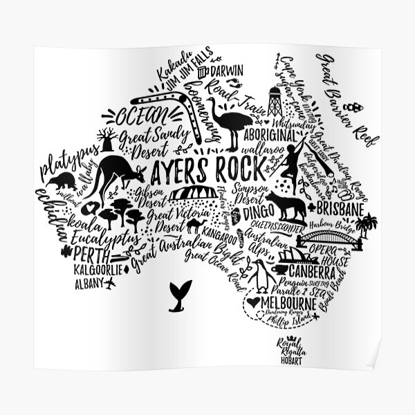 Typography poster. Australia map. Australia travel guide. Poster
