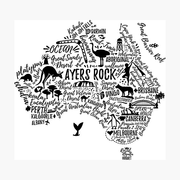 Typography poster. Australia map. Australia travel guide. Photographic Print