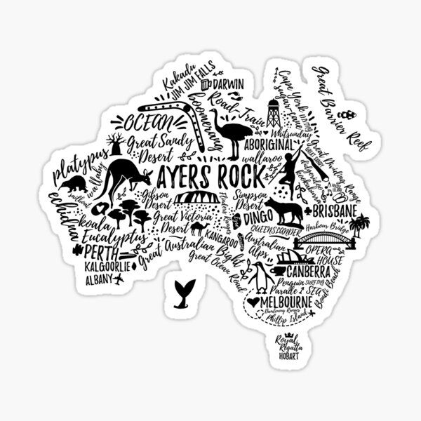 Typography poster. Australia map. Australia travel guide. Sticker