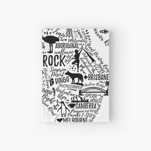 Typografie-Poster. Australien Karte. Australien Reiseführer. Notizbuch