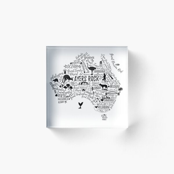 Typography poster. Australia map. Australia travel guide. Acrylic Block
