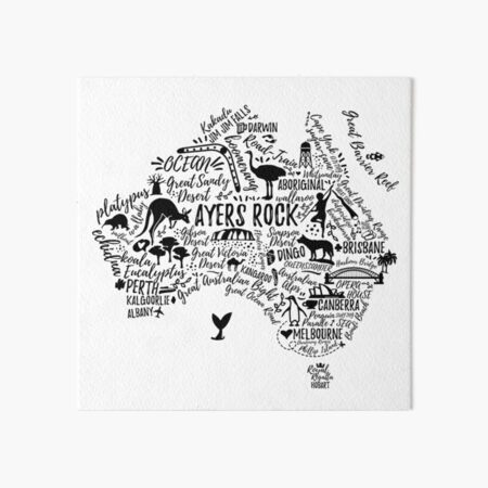 Typography poster. Australia map. Australia travel guide. Art Board Print