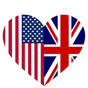 People America Great Britain Flag Friendship Love Heart by rubina