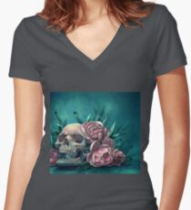 Skull and Peonies Fitted V-Neck T-Shirt