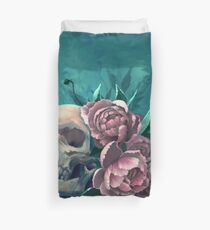 Skull and Peonies Duvet Cover