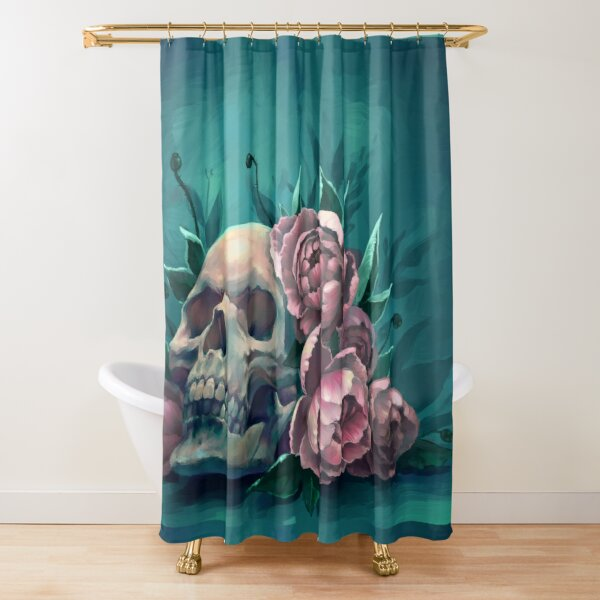 Skull and Peonies Shower Curtain